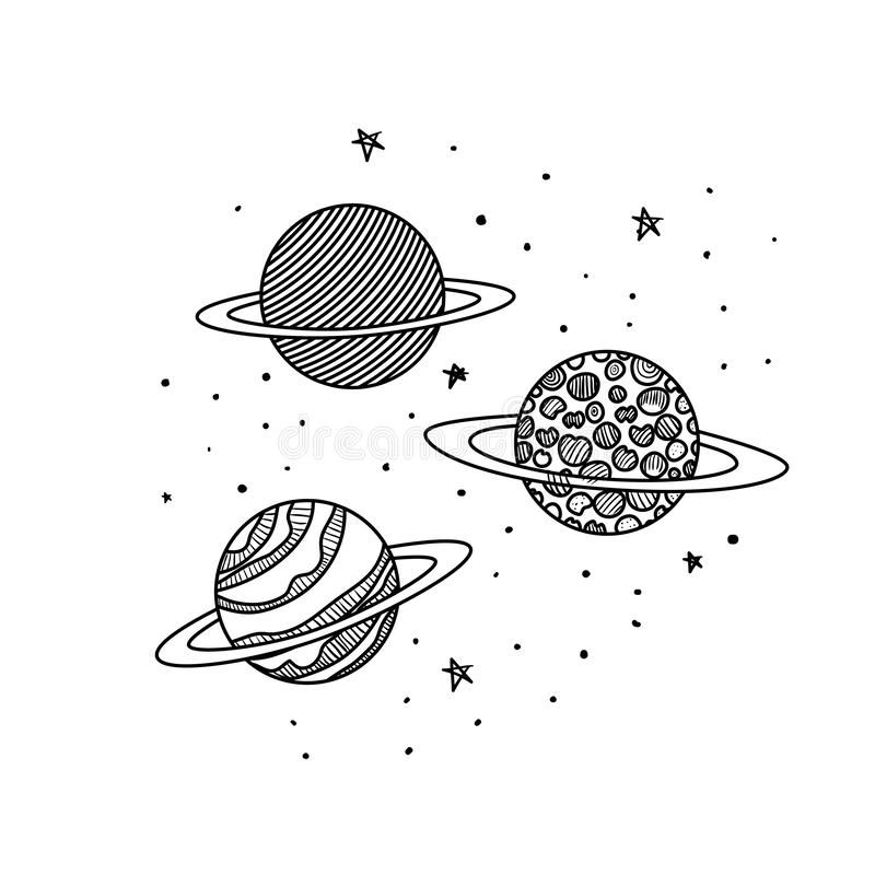 Planetas do ?cone isolado do sistema solar ilustração stock