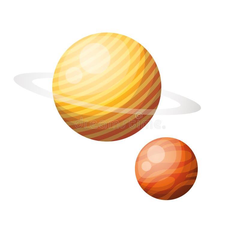 Planetas do ?cone isolado do sistema solar ilustração do vetor