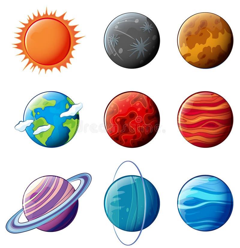 Planetas do sistema solar ilustração do vetor