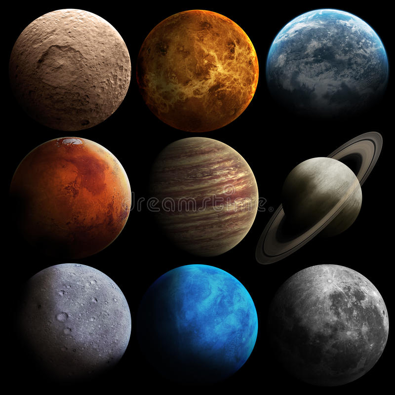 Planetas do sistema solar da qualidade da altura ilustração stock