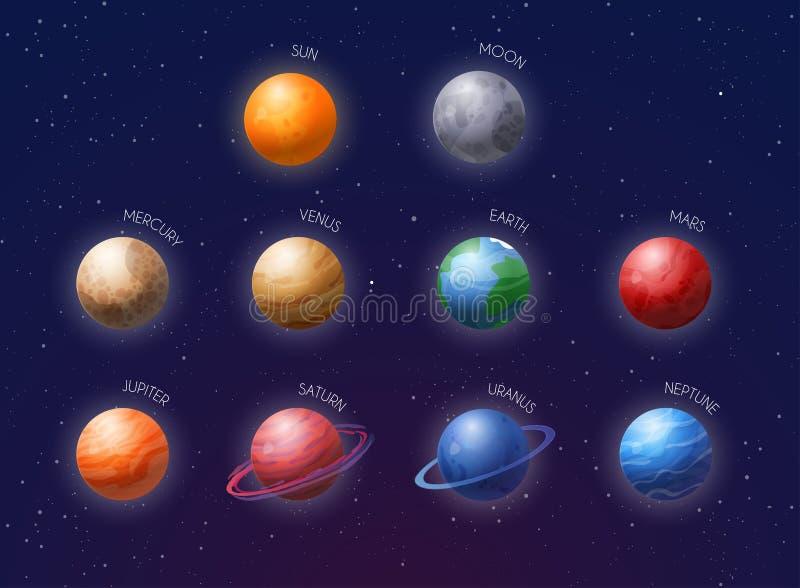 Planetas do sistema solar de cartum assinados com os nomes dos planetas Ilustração vetorial ilustração stock