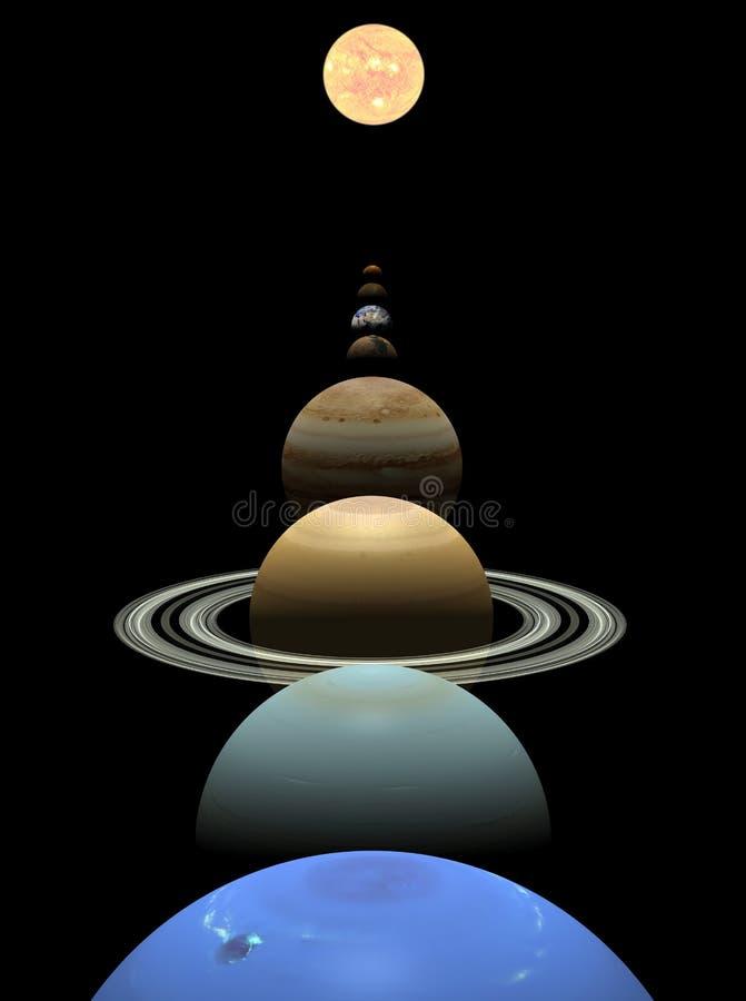 Planetas do sistema solar em alinhamento em torno do sol ilustração stock