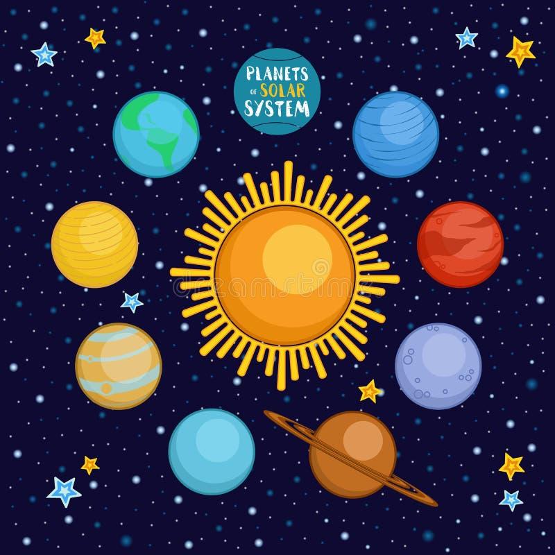 Planetas do sistema solar no espaço, ilustração do vetor dos desenhos animados ilustração do vetor