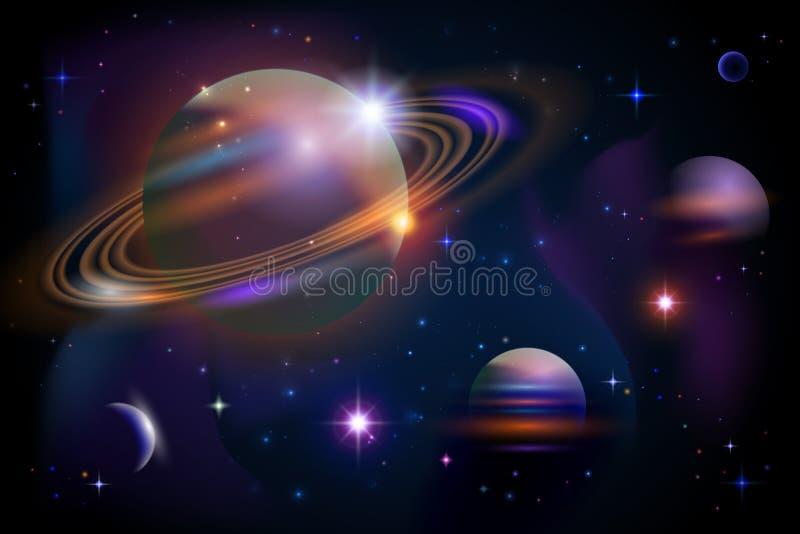 Planetas e espaço. ilustração stock