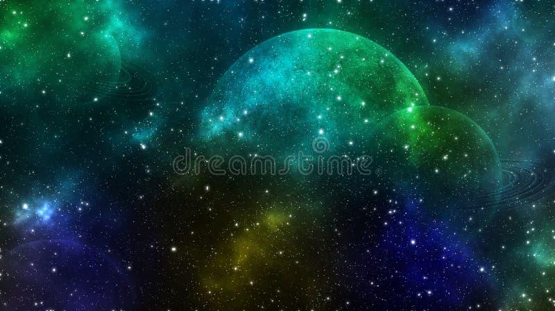 Planetas e estrelas, espaço profundo ilustração royalty free
