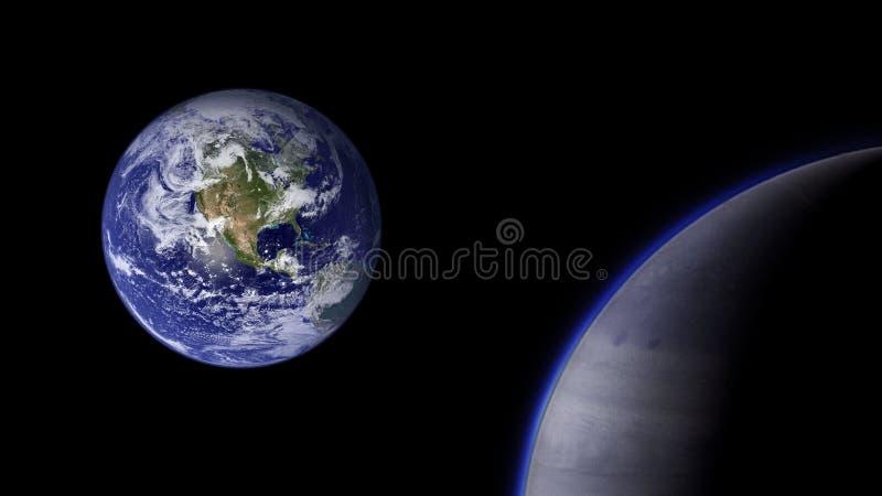 Planetas e galáxia, cosmos, cosmologia física foto de stock
