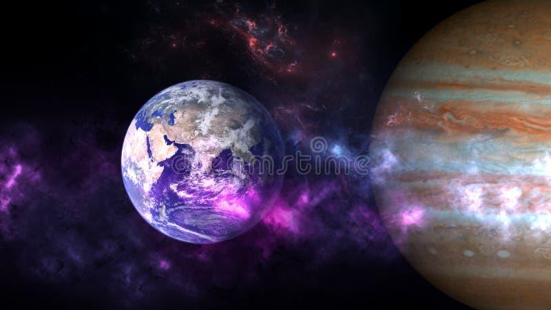 Planetas e galáxia, cosmos, cosmologia física imagens de stock