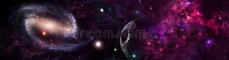 Planetas e galáxia, papel de parede da ficção científica imagens de stock