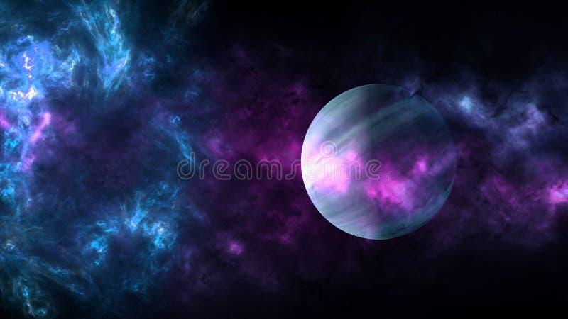 Planetas e galáxia, papel de parede da ficção científica Beleza do espaço profundo fotos de stock