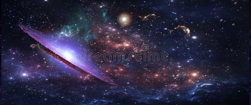 Planetas e galáxias, papel de parede da ficção científica Beleza do espaço profundo fotografia de stock royalty free