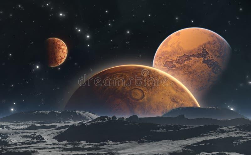 Planetas e lua rochosos, fundo do espaço ilustração royalty free
