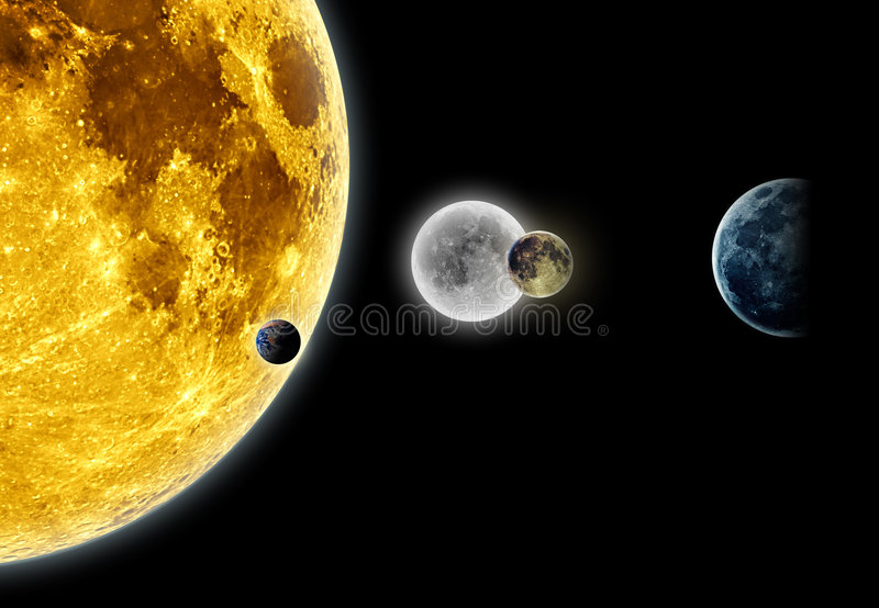 Planetas e luas ilustração royalty free