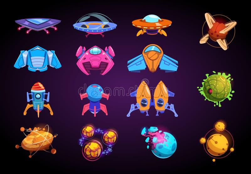 Planetas e naves espaciais dos desenhos animados Foguetes fantásticos, UFO e planetas futuristas alient Jogo do vetor do jogo de  ilustração stock