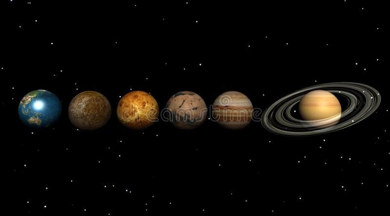 Planetas en el universo stock de ilustración
