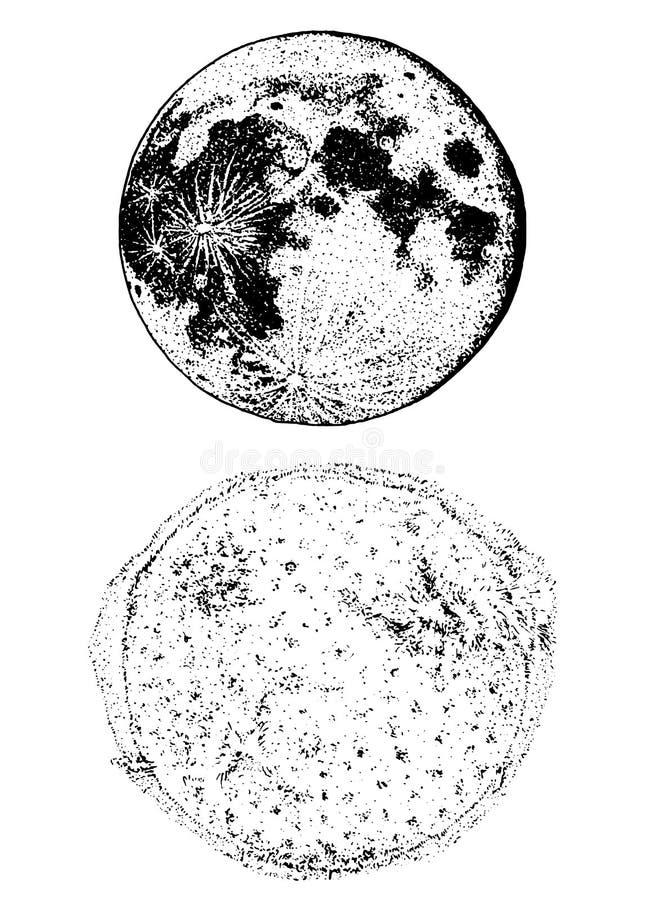 Planetas en Sistema Solar luna y el sol espacio astronómico de la galaxia mano grabada dibujada en el viejo bosquejo, estilo del  stock de ilustración