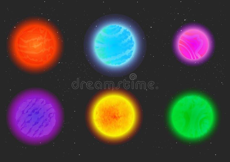 Planetas estrangeiros da fantasia dos desenhos animados ajustados ilustração stock