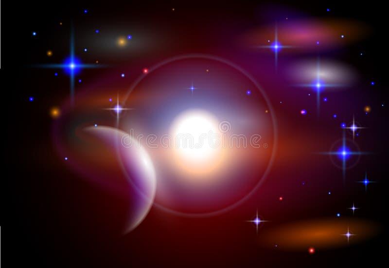 Planetas, estrelas, constelações, nebulosa & galáxias ilustração royalty free