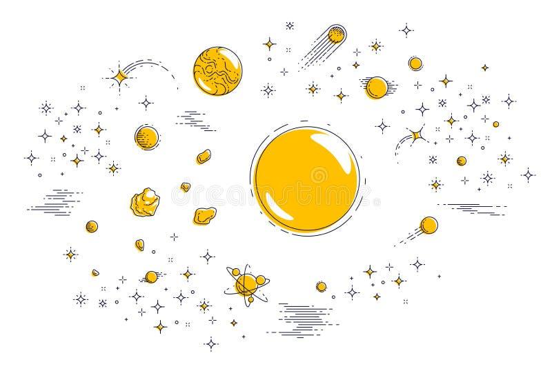 Planetas fantásticos en galaxia sin descubrir con las estrellas y el otro EL stock de ilustración
