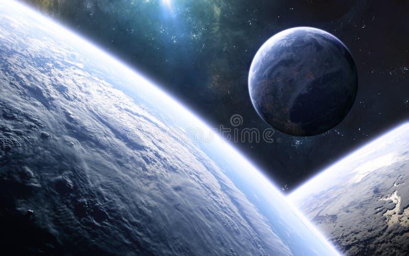 Planetas habitados del espacio profundo. Hermoso paisaje cósmico. Ciencia ficción stock de ilustración
