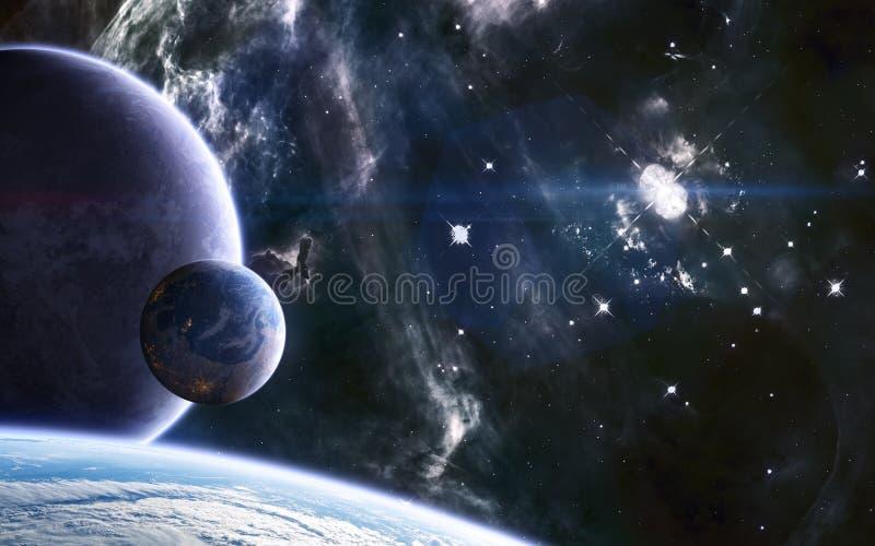 Planetas habitados en el fondo de nebulosa del espacio profundo Ciencia ficción fotos de archivo