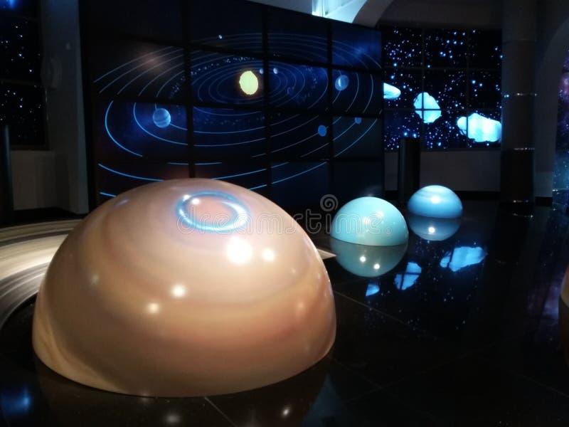 Planetas no planetário de Moscou foto de stock