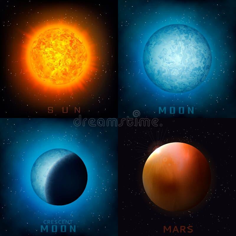 Planetas realísticos do espaço ilustração royalty free