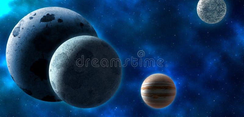 Planetas sobre las nebulosas en espacio libre illustration