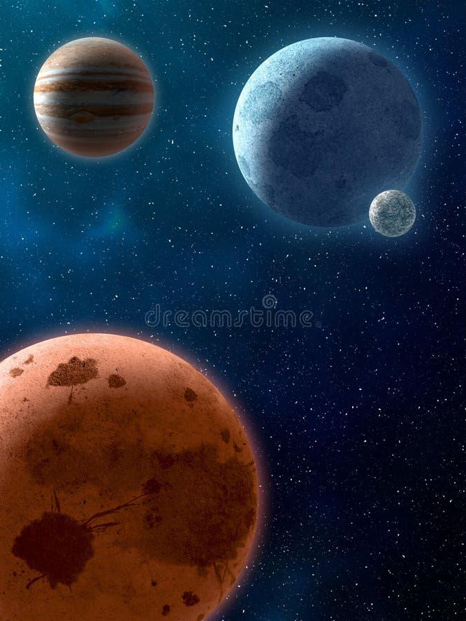 Planetas sobre las nebulosas en espacio ilustración del vector