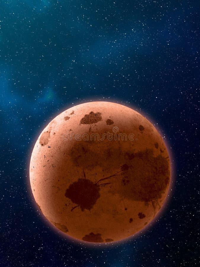 Planetas sobre las nebulosas en espacio stock de ilustración