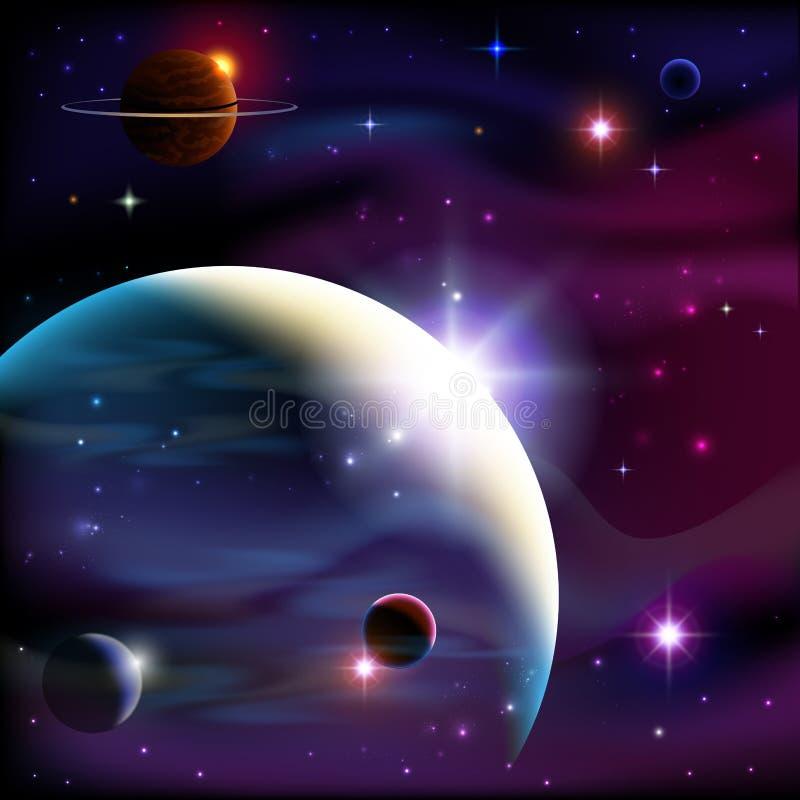 Planetas y espacio. stock de ilustración