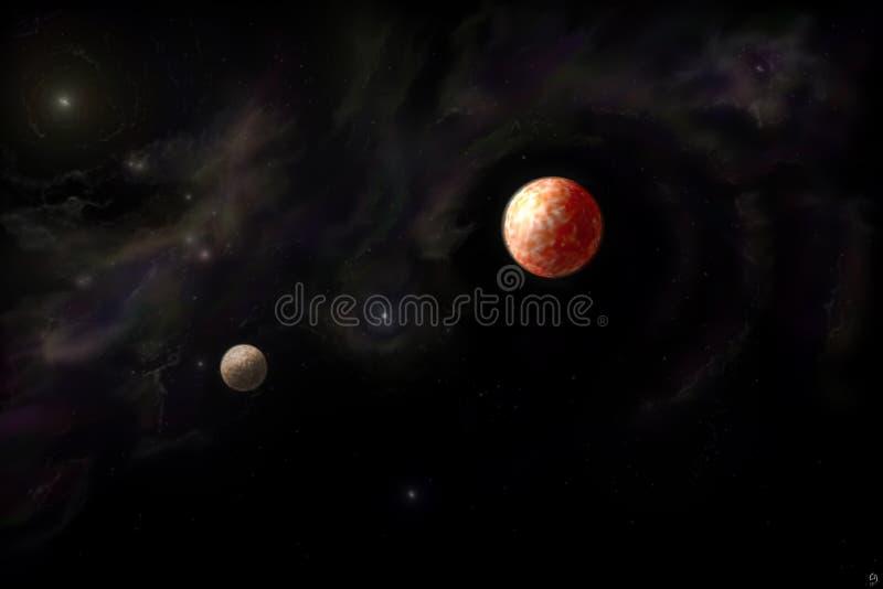 Planetas y nebulosa imagenes de archivo
