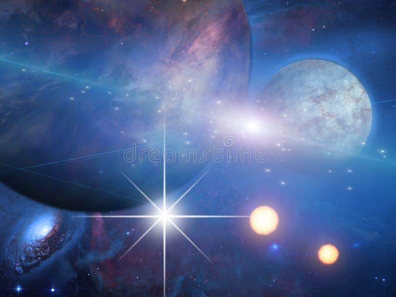 Planetas y soles stock de ilustración