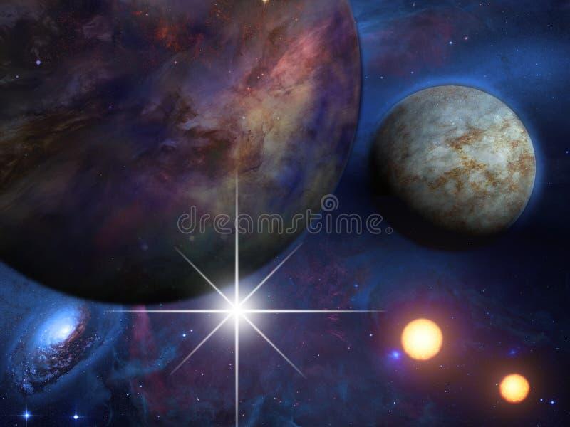 Planetas y soles ilustración del vector