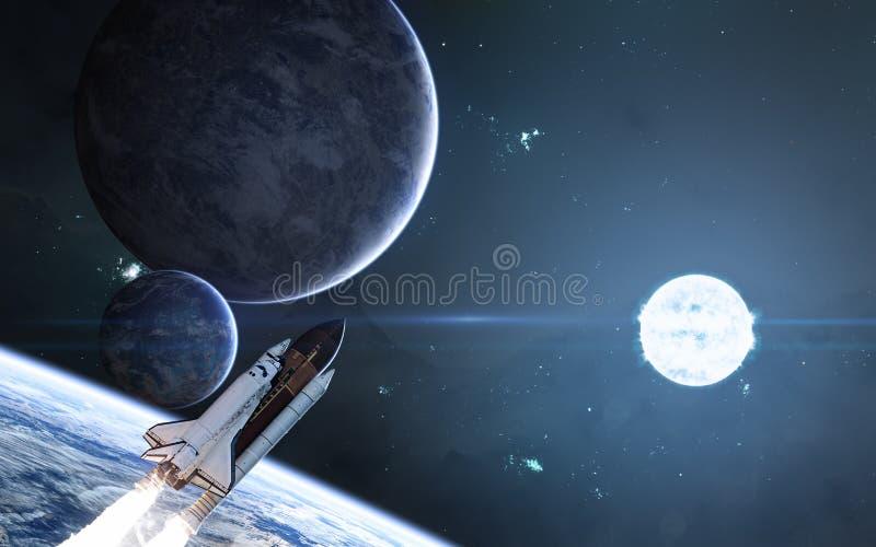 Planeten auf Hintergrund des blauen Sternes Weltraum, Raumfähre Zukunftsromane stock abbildung