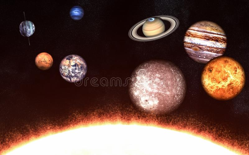 Planeten des Sonnensystems auf einer Seite des Sun Elemente des Bildes werden von der NASA geliefert stock abbildung
