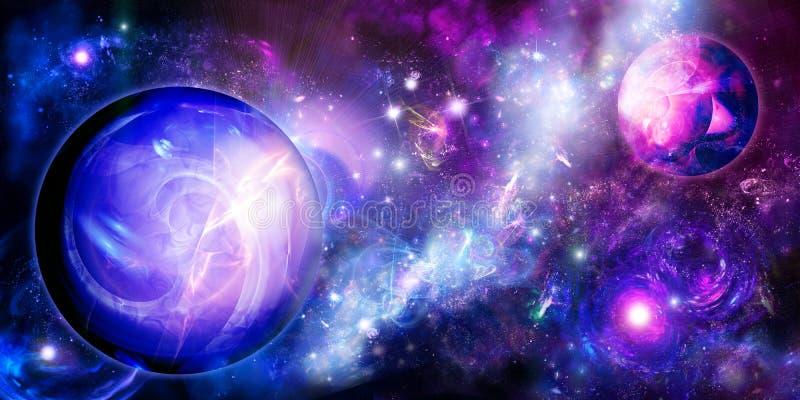Planeten dichtbij nebulas stock illustratie
