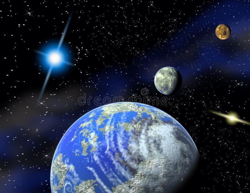 Planeten in een ruimte. vector illustratie