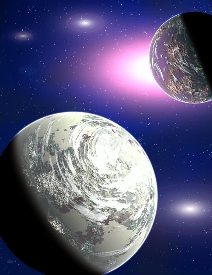 Planeten in een ruimte royalty-vrije illustratie