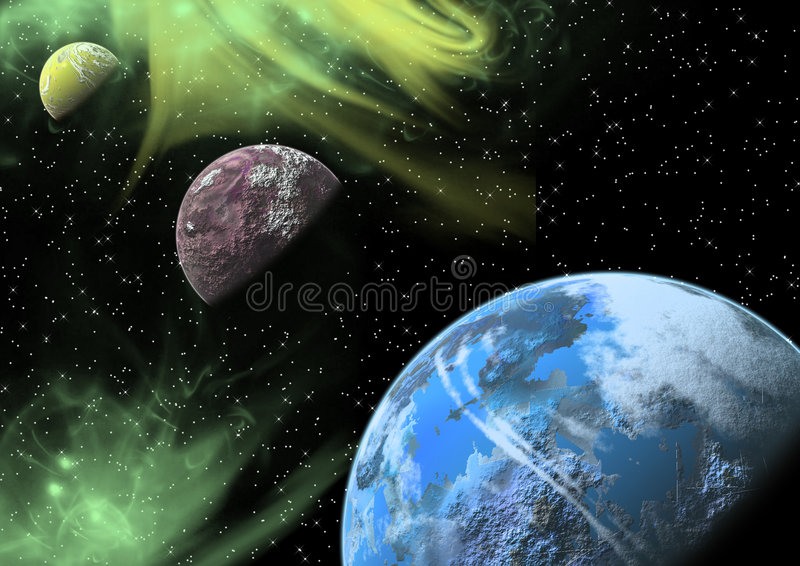 Planeten in een ruimte. stock illustratie