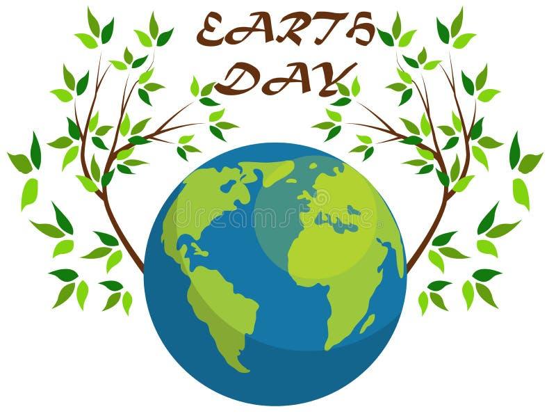 Planeten en groene bladeren 22 april Gelukkige Aardedag De kaart van de aardedag royalty-vrije illustratie