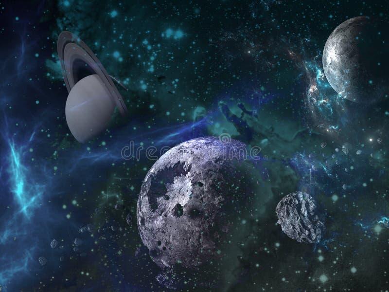 Planeten en melkweg, science fictionbehang royalty-vrije illustratie