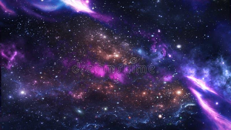 Planeten en melkweg, science fictionbehang stock foto