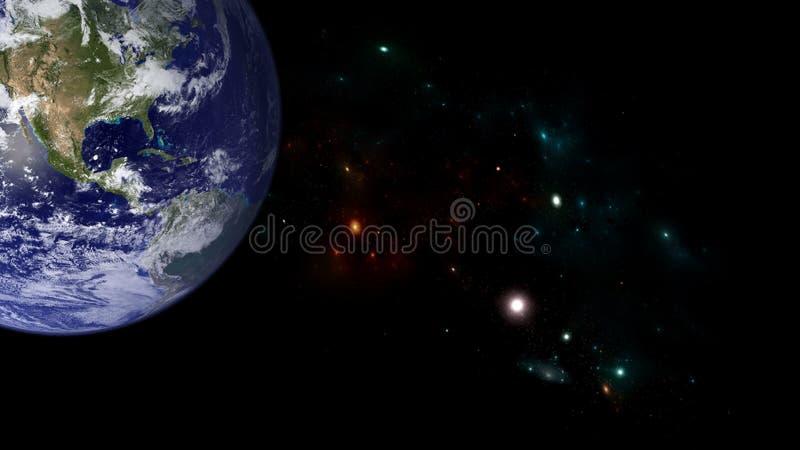 Planeten en melkweg Science fictionbehang royalty-vrije stock afbeeldingen