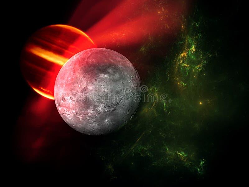 Planeten en melkweg, science fictionbehang Schoonheid van diepe ruimte Miljarden van melkweg op de achtergrond van de heelal Kosm royalty-vrije illustratie