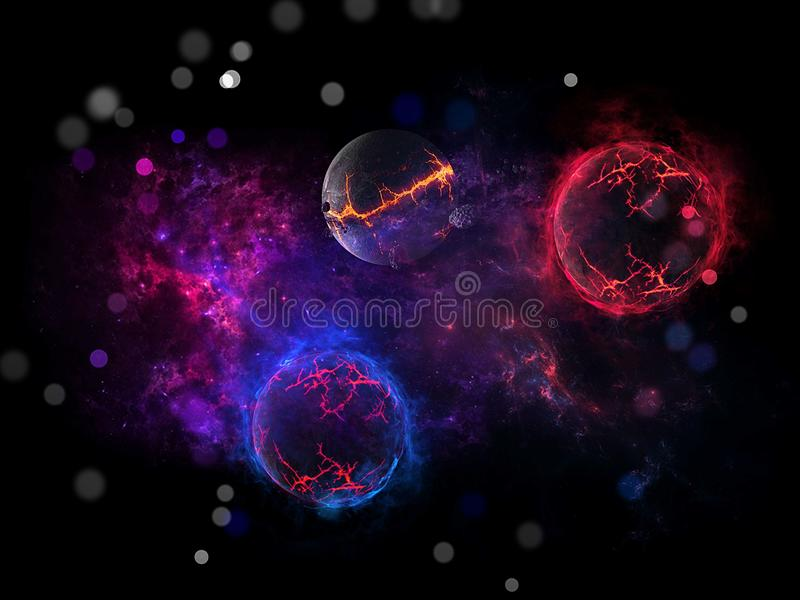 Planeten en melkweg, science fictionbehang Schoonheid van diepe ruimte Miljarden van melkweg op de achtergrond van de heelal Kosm stock illustratie