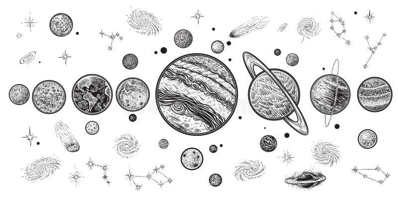 Planeten en ruimtehand getrokken vectorillustratie Zonnestelsel met satellieten vector illustratie