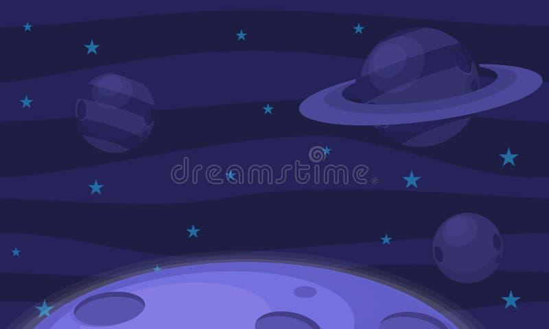 Planeten en Sterrenvideospelletjeachtergrond stock illustratie