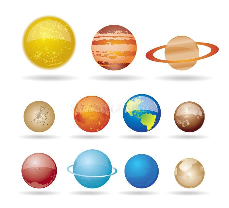 Planeten en zon van ons zonnestelsel vector illustratie