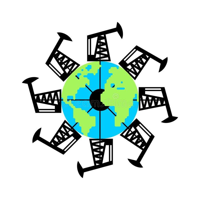 Planeten-Erd- und Pumpensteckfassung und Erdölgewinnung Füllen des Autos mit Kraftstoff W vektor abbildung