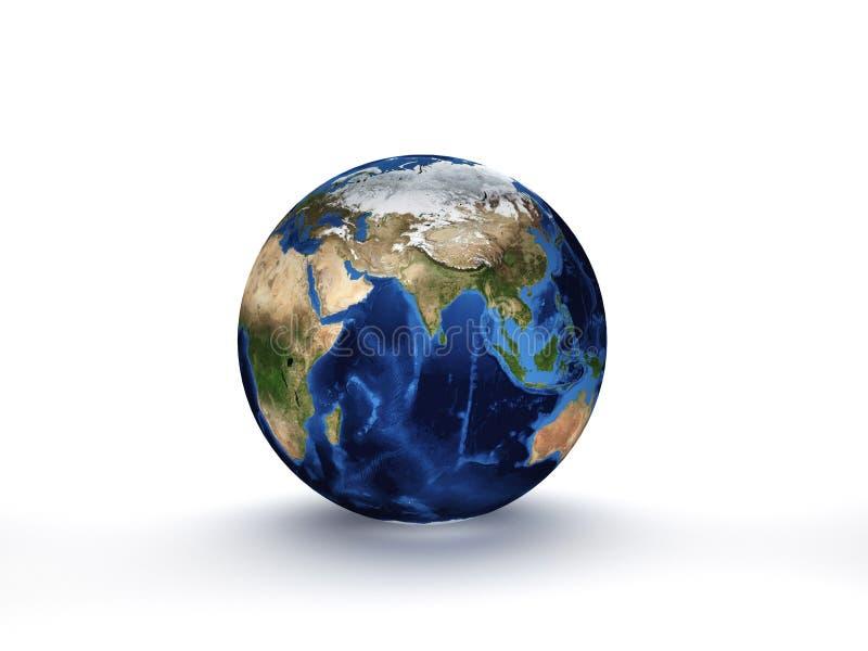 Planeten-Erde der Wiedergabe-3D, Kugelmodell lokalisiert auf Weiß lizenzfreie abbildung